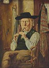 JAMES CAMPBELL (1828-1903) Playing the pipe oil on board 15 x 11