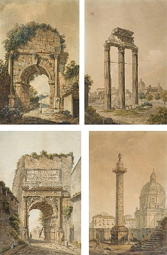 Quatre vues de Rome: La colonne Trajane; Le temple de Jupiter; L'arc de Titus; et L'arc de Trajan