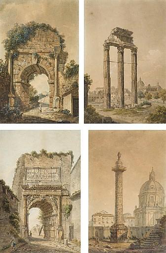 Quatre vues de Rome: La colonne Trajane; Le temple de Jupiter; L'arc de Titus; et L'arc de Trajan