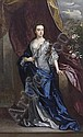 Portrait of Elizabeth, Duchess of Dorset, full-length, in a white dress with a blue wrap, leaning on a stone pedestal with her left hand, beside a draped curtain, Sir Godfrey Kneller, Click for value