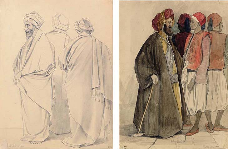 Three Robed Men; Four Men in Egyptian Dress