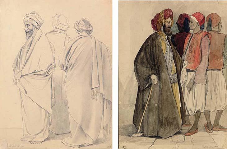 Three Robed Men; Four Men in Egyptian Dress