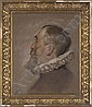Portrait of gentleman, bust-length, in profile, in a white ruff, Solomon J. Solomon, Click for value