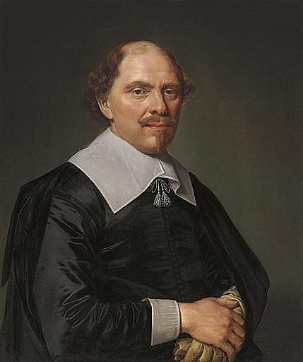 Portrait of a gentleman, half-length, in a black costume with lace collar and cuffs