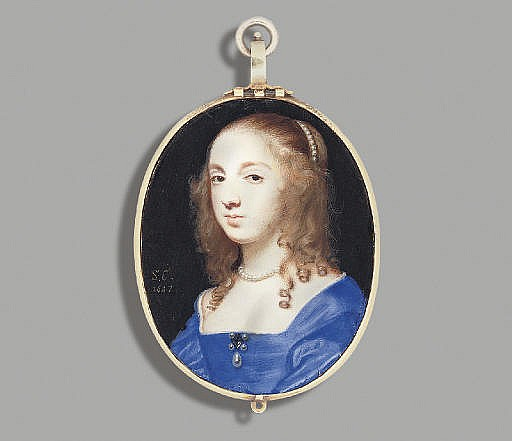 A lady called Mrs John Lewis ( née Sarah Foote), in white- bordered blue silk dress, gem-set brooch flanked by four pearls, suspended with drop-pearl and worn at corsage, a strand of pearls in her upswept fair curling hair and falling over her