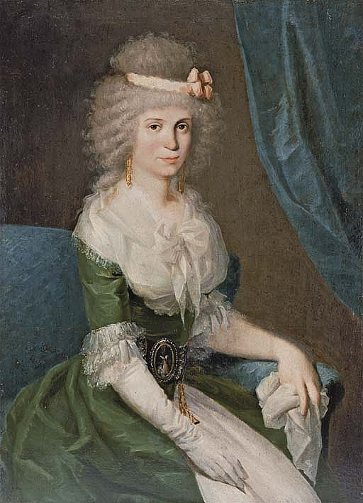 Portrait of a lady, three-quarter-length, seated, in a green dress with white lace sleeves and collar