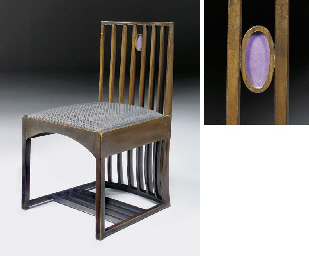 A dark stained sycamore side chair