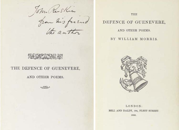 MORRIS, William (1834-1896).  <I>The Defence of Guenevere and Other Poems</I>, London: Bell and