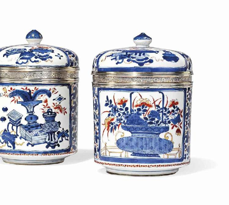 A PAIR OF LOUIS XV SILVER-MOUNTED CHINESE IMARI PORCELAIN JARS AND COVERS