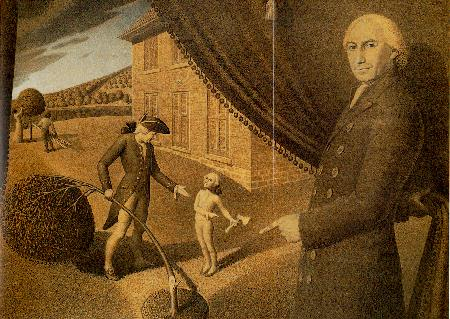 GRANT WOOD (1892-1942) Cartoon for Parson Weems' Fable signed