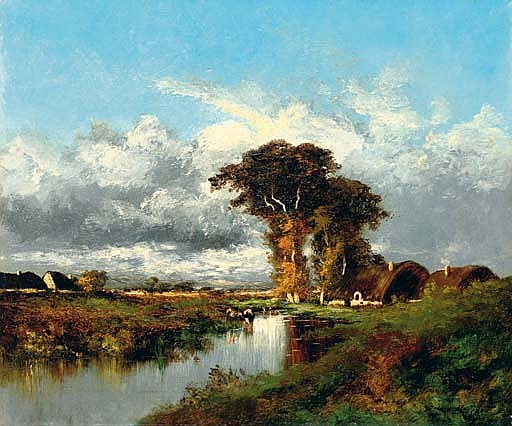 River landscape with cottages