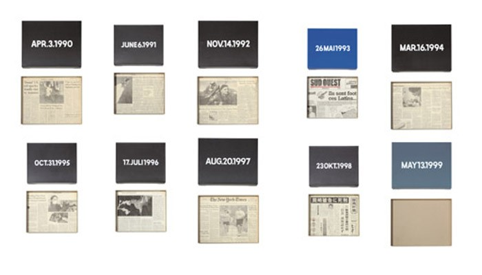APR. 3, 1990 (Today Series No. 13) signed 'On Kawara' (on the reverse) Liquitex on canvas with newspaper clipping in artists's box 10 x 12 7/8 in. (25.5 x 33 cm.) Executed in 1990. JUNE 6, 1991 (Today Series No. 21) signed 'On Kawara' (on the