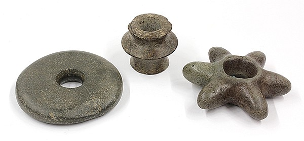 Collection of Pre-Columbian maze (club heads)