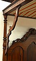 American Rococo Revival rosewood and mahogany half-tester bed