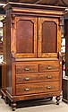 American Empire mahogany linen press
