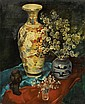 Painting, Gustaaf de Bruyne, Still Life with Asian Vase