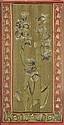 Framed Art Nouveau embroidered silk entre-fentre