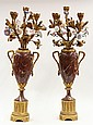 Pair of Louis XVI style gilt bronze candelabra
