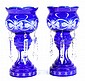 Pair of Victorian style cobalt blue cut to clear glass lusters