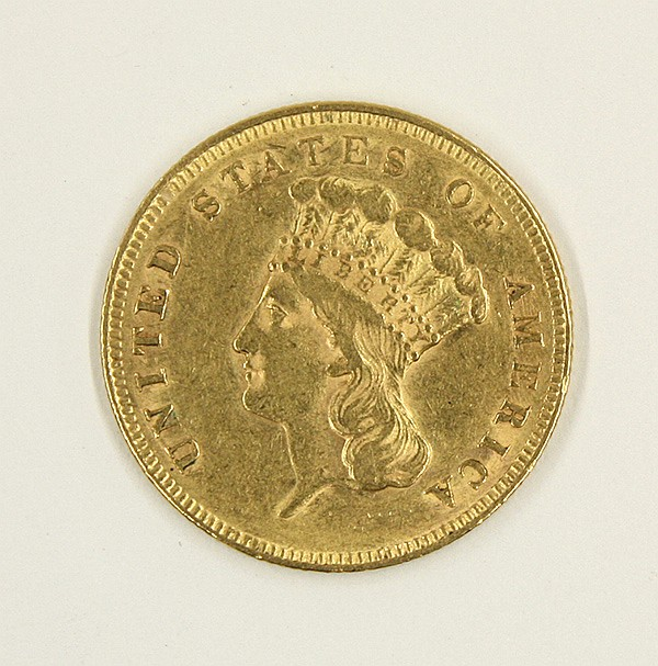 United States 1855 three dollar Indian Head gold coin