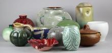 (lot of 12) American art pottery vases and bowls in assorted glazes and styles