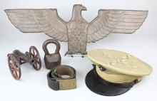 (lot of 5) Militaria group,  including a 2nd lieutenant hat, US military leather belt, iron canon model, copper sculpture of an eagl...