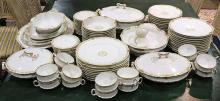 (lot of 70) Haviland Limoges partial table service, each having foliate decoration on a cream ground, consisting of (9) dinner plate...