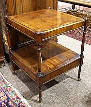 George III style fruitwood side table with inlaid bands, having a square top, with pull out leather writing surface, above the lower...