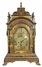 George III double fusee bracket clock by Ellicott, London, having a hooded top, with flame finials, above the gilt bronze mounted an...