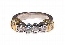 Diamond, platinum and 18k yellow gold ring