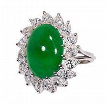 Jadeite, diamond and 14k white gold ring, Mason-Kay 'A' jade report , Mason-Kay 'A' jade report