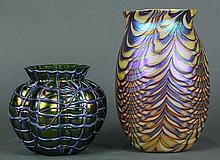 (Lot of 2) Art glass vase group, consisting of a shoulder form vase having a pulled feather design, signed Carlson, '04; together wi..