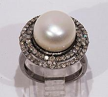 Cultured pearl, diamond and sterling silver ring