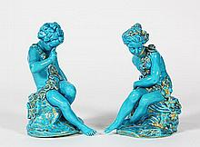 Pair of Sevres style porcelain turquoise glazed figures depicting Cupid and Psyche, after Maurice-Etienne Falconet, 19th Century, ea...