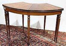 George III style mahogany wine (tasting) table, having a hinged demi-lune top, and rising on turned legs,  29