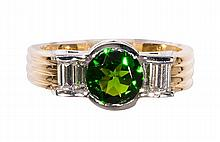 Diopside, diamond, 18k yellow gold and platinum ring
