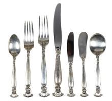 American sterling silver flatware service for eight plus extras, by Wallace in the