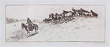 Edward Borein (American, 1872-1945), Saddle Bunch, circa 1920, etching, pencil signed lower right, image: 3