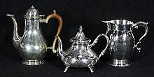 Continental silver pitcer, cofee pot, teapot, 36.49 troy.