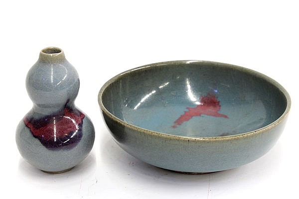 Two Chinese Jun-type Bowl and Double Gourd Bottle