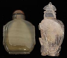 Two Chinese Agate/Rose Quartz Snuff Bottles