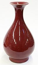 Chinese Ox Blood Glaze Pear Shaped Vase