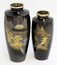 Japanese Vases, Etched on Metal