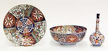 Japanese Imari Porcelain Bowl, Vase, Charger
