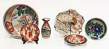 Japanese Old Kutani Dishes, Bowl, Tokkuri, 19c
