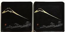 Pair of Japanese Black Lacquered Trays