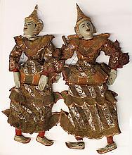 Two Thai Wood Puppets