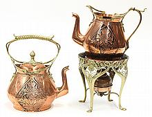 (lot of 2) Art Nouveau tea kettle on stand and water pitcher by Carl Deffner