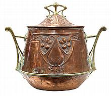Art Nouveau lidded cooler by Carl Deffner for WMF, executed in brass and hammered copper, having a floriform brass handle above a co...