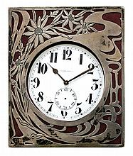 Art Nouveau silver travel clock by Gorham